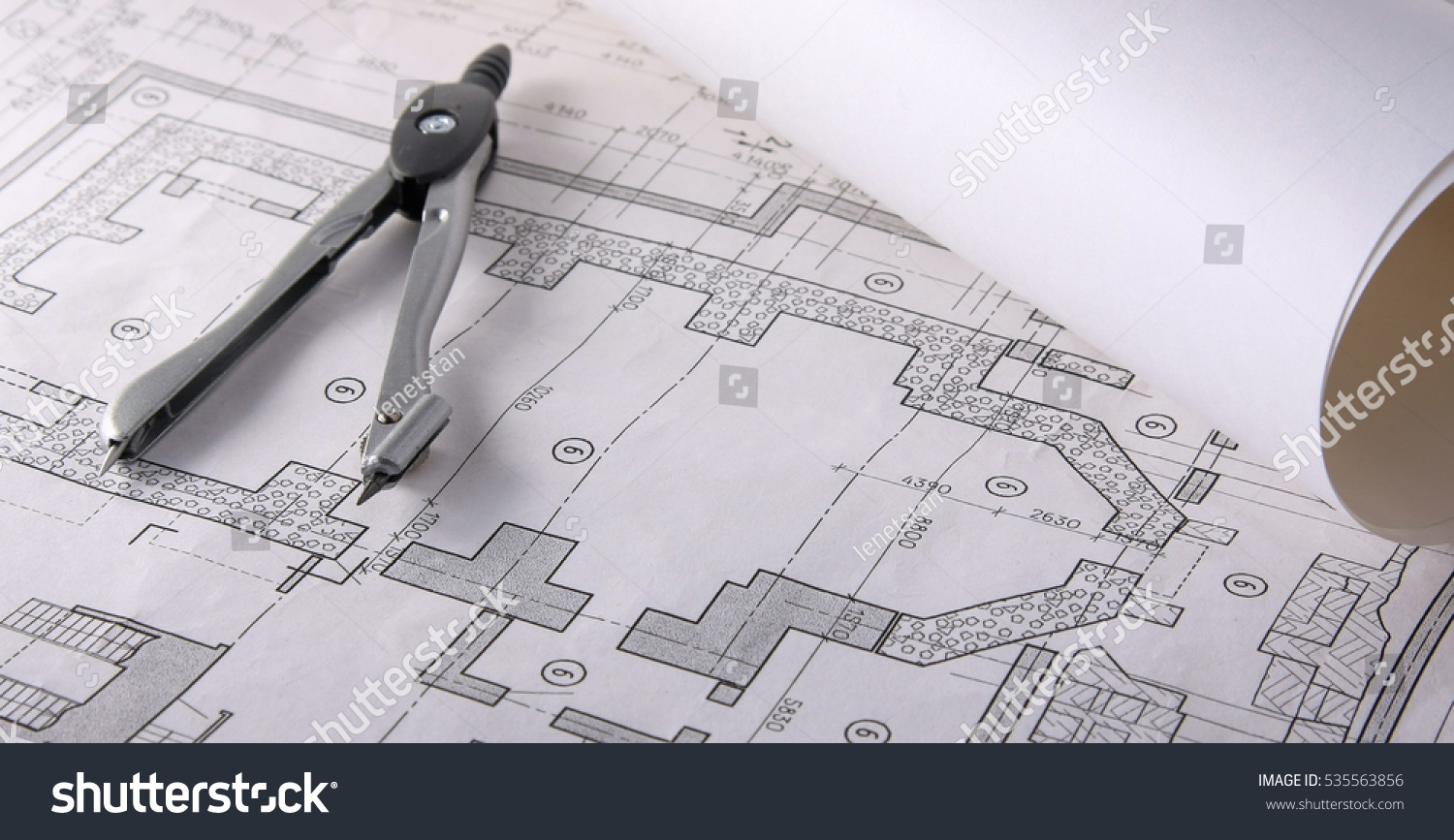 Architectural Plans Compass And Ruler On The Desk Ez Canvas Schematic Id 535563856