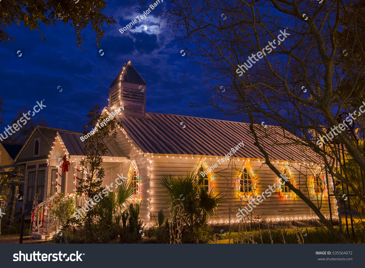 Old Country Church Decorated For Christmas On A Blue December Night In Louisiana
