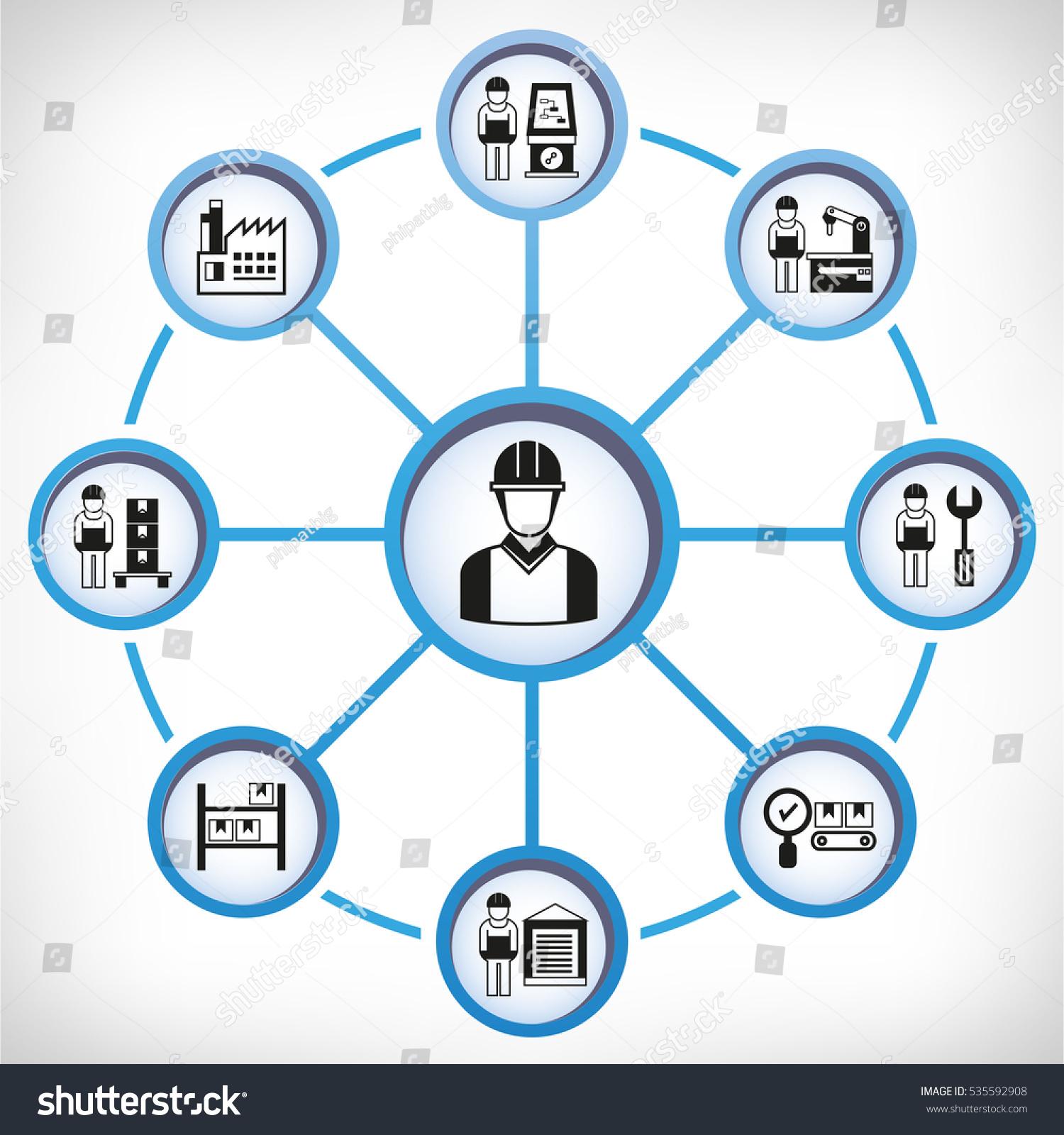 Engineering manufacturing icons circle diagram stock vector engineering and manufacturing icons in circle diagram ccuart Choice Image
