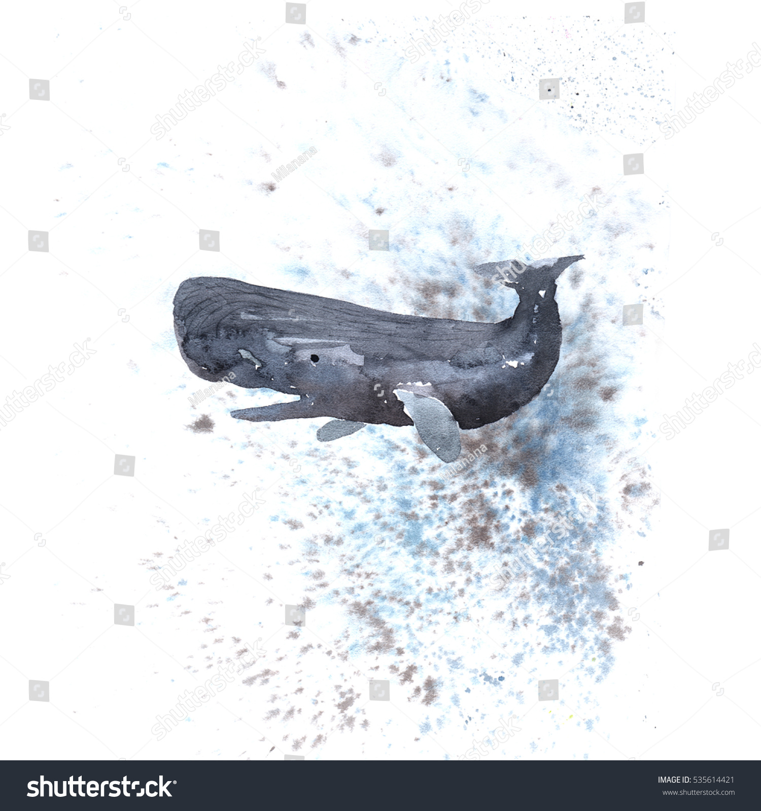 Painting draw sperm whale with background