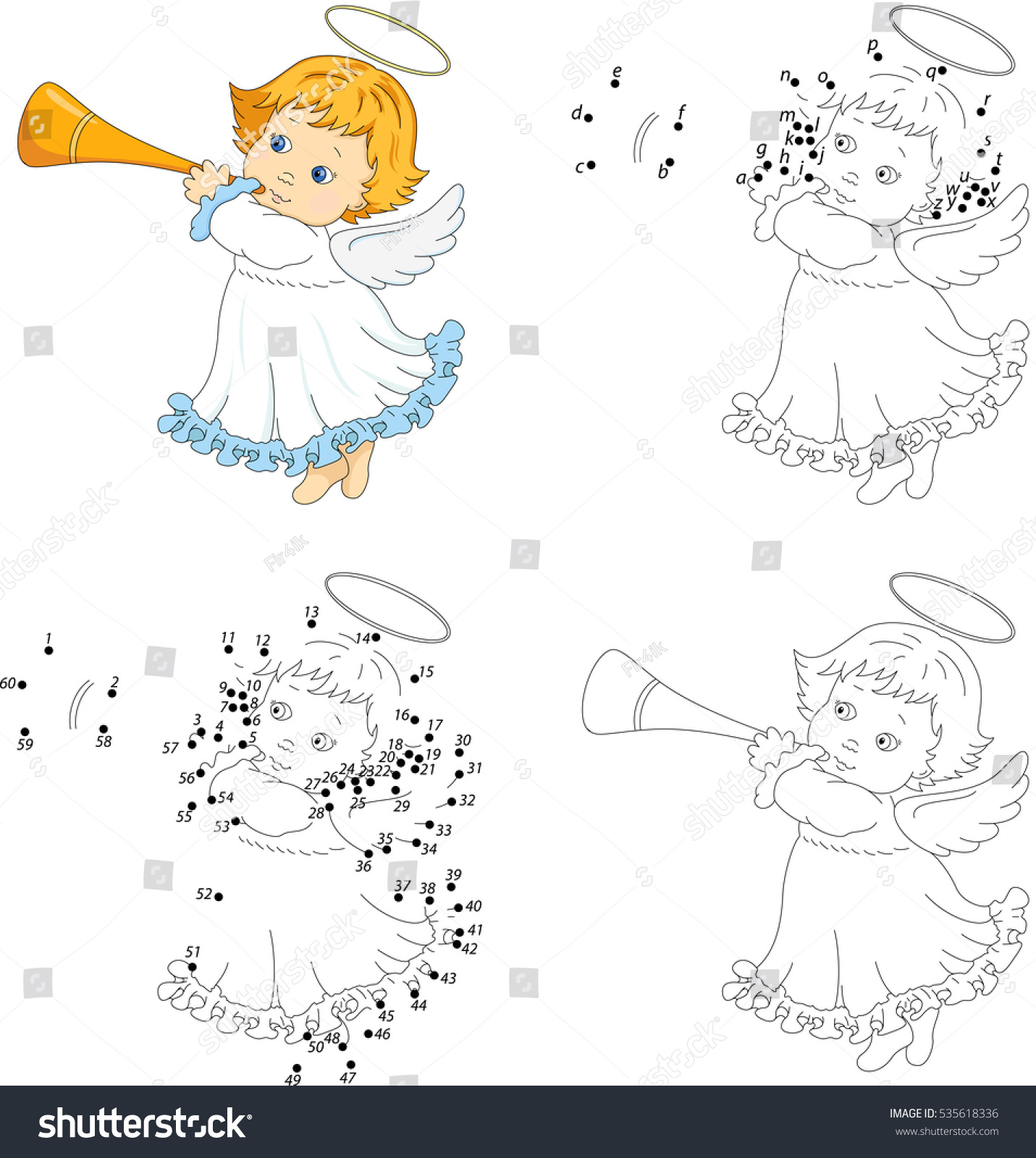 christmas angel with a trumpet coloring book and dot to dot educational game for kids