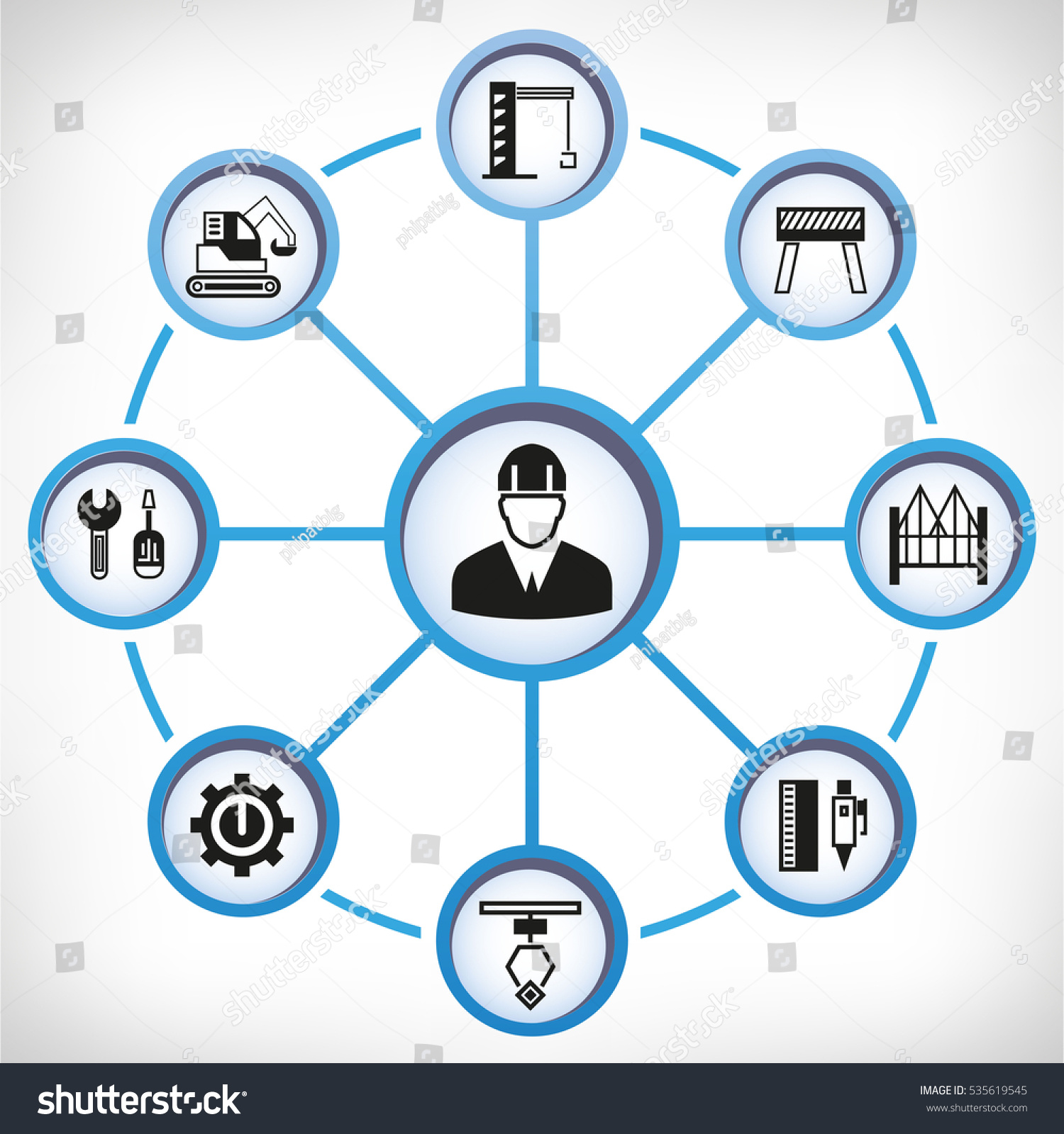 Engineering construction tool icons circle diagram stock vector hd engineering and construction tool icons in circle diagram ccuart Choice Image