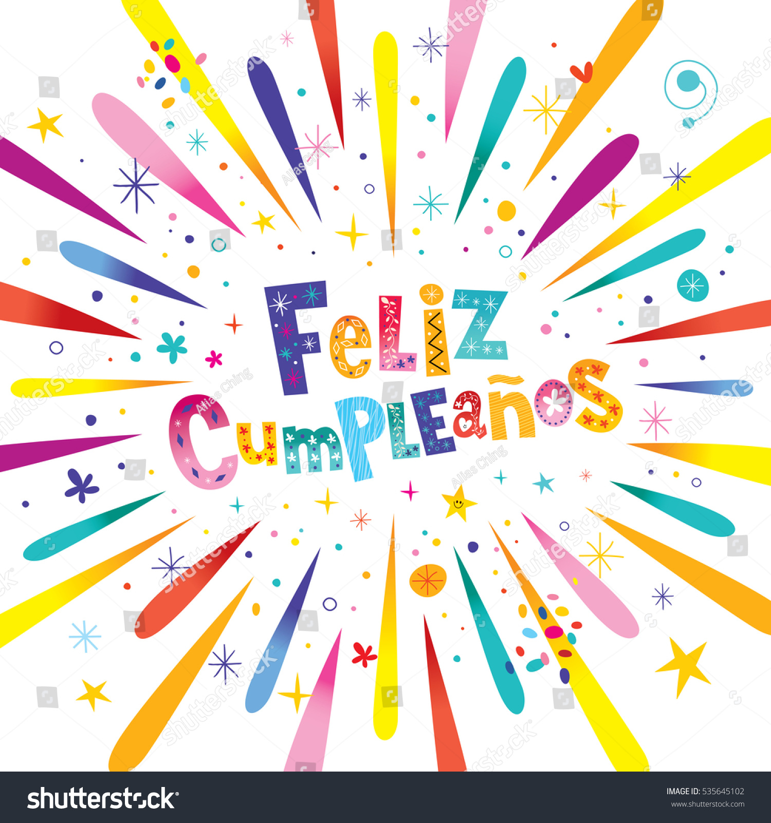 feliz cumpleanos  happy birthday in spanish greeting card with, Birthday card