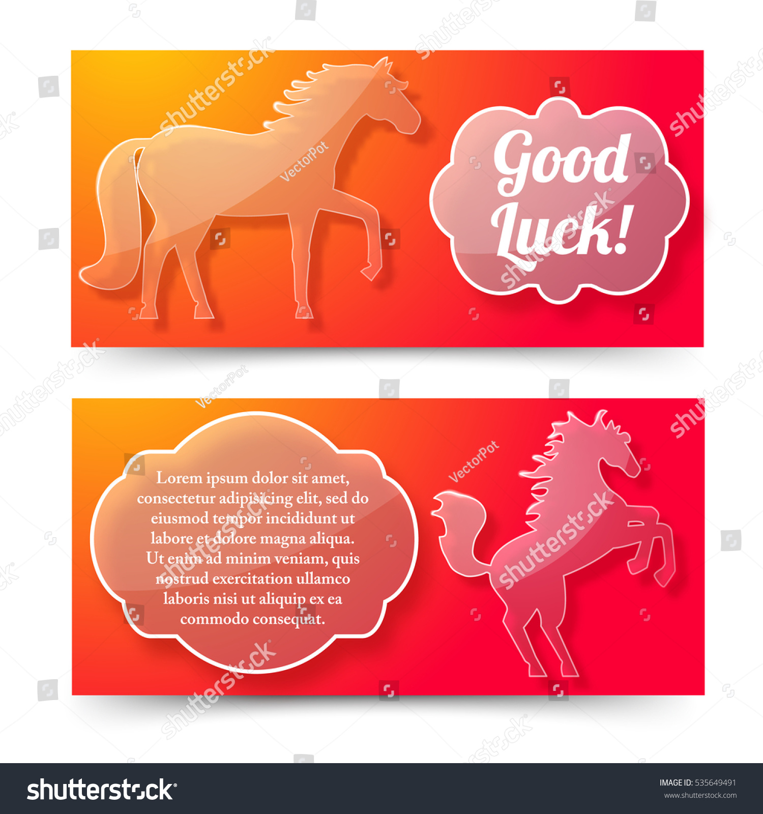 Happy new year horse banners set stock vector 535649491 shutterstock happy new year of horse banners set with good luck wishing and jumping horse symbols flat buycottarizona