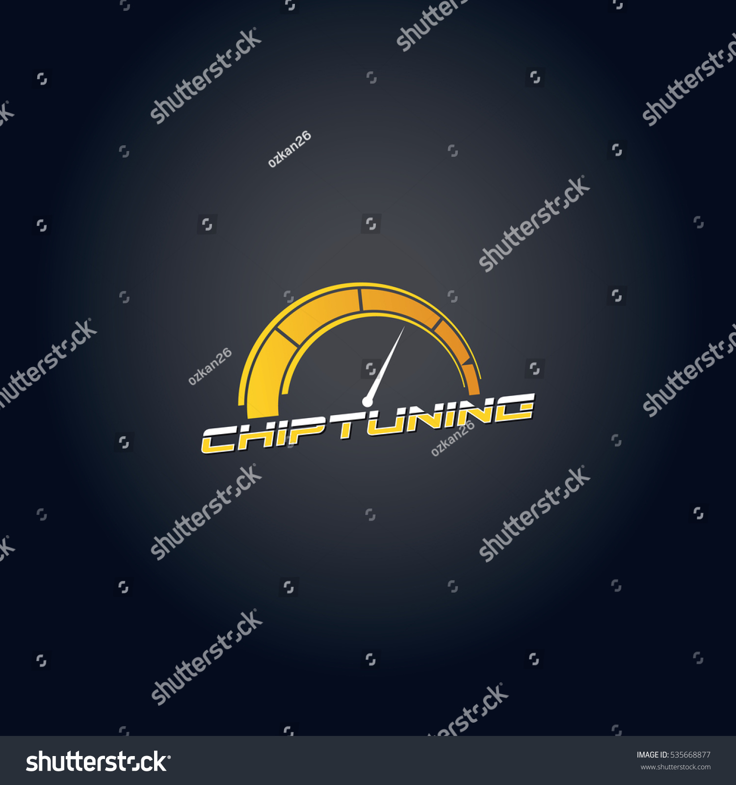 Yellow Gradient Car Chip Tuning Vector Stock Vector 535668877