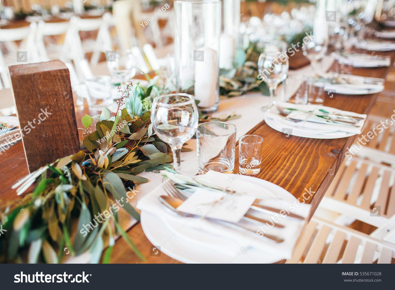 Rustic Wedding Decor Wedding Table Setting Stock Photo (Edit Now) 535671028