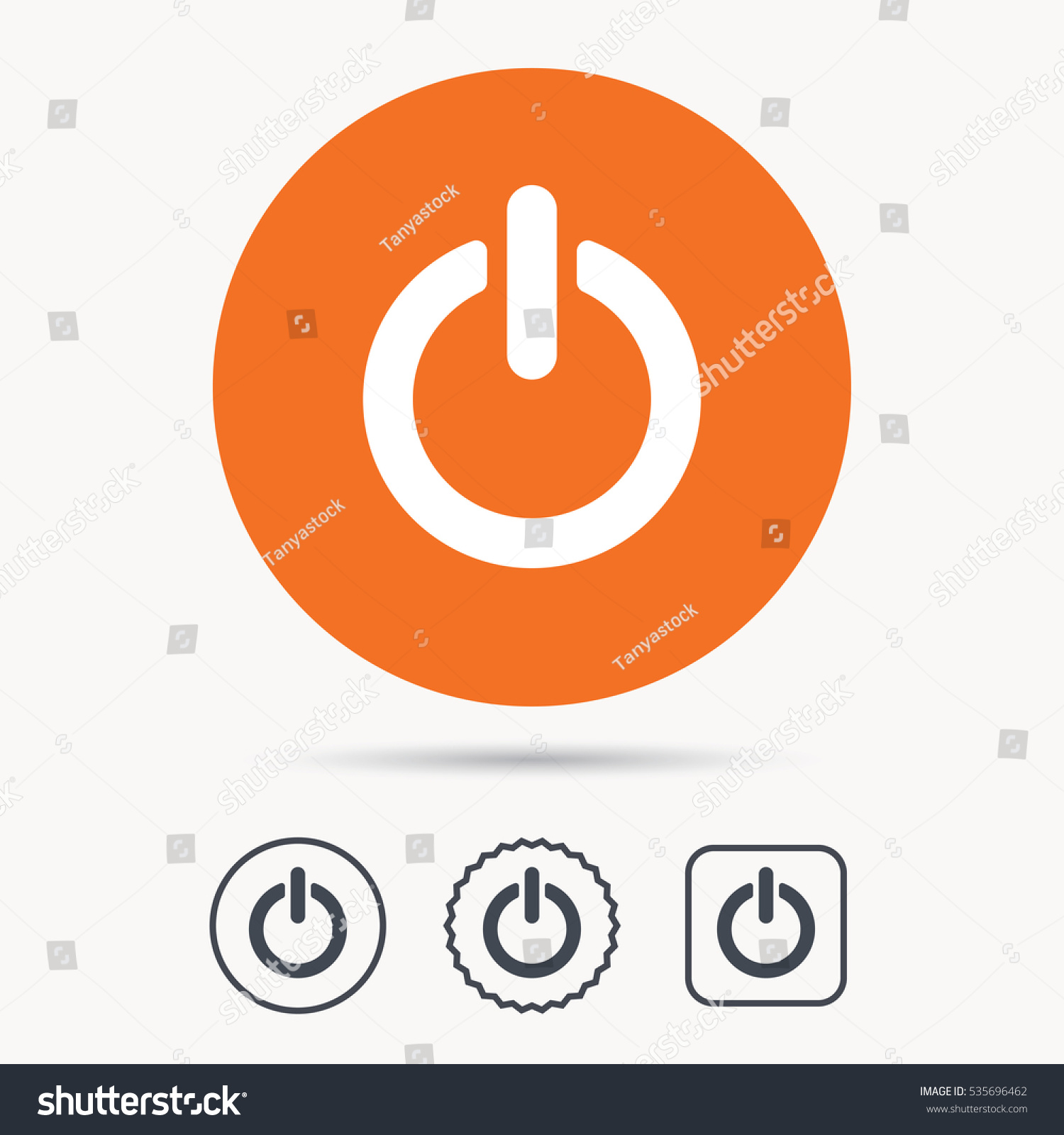 On Off Power Icon Energy Switch Stock Vector Royalty Free Symbol Orange Circle Button With Web