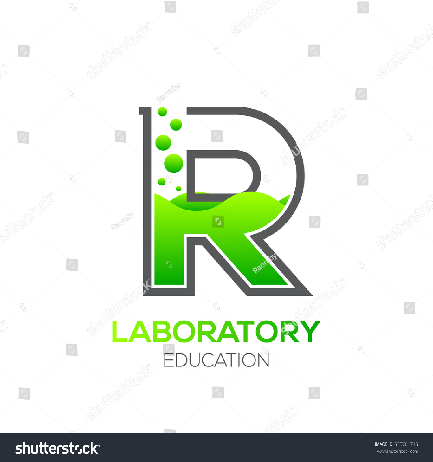 Letter R Green Color Laboratory Beaker Science Education Chemical