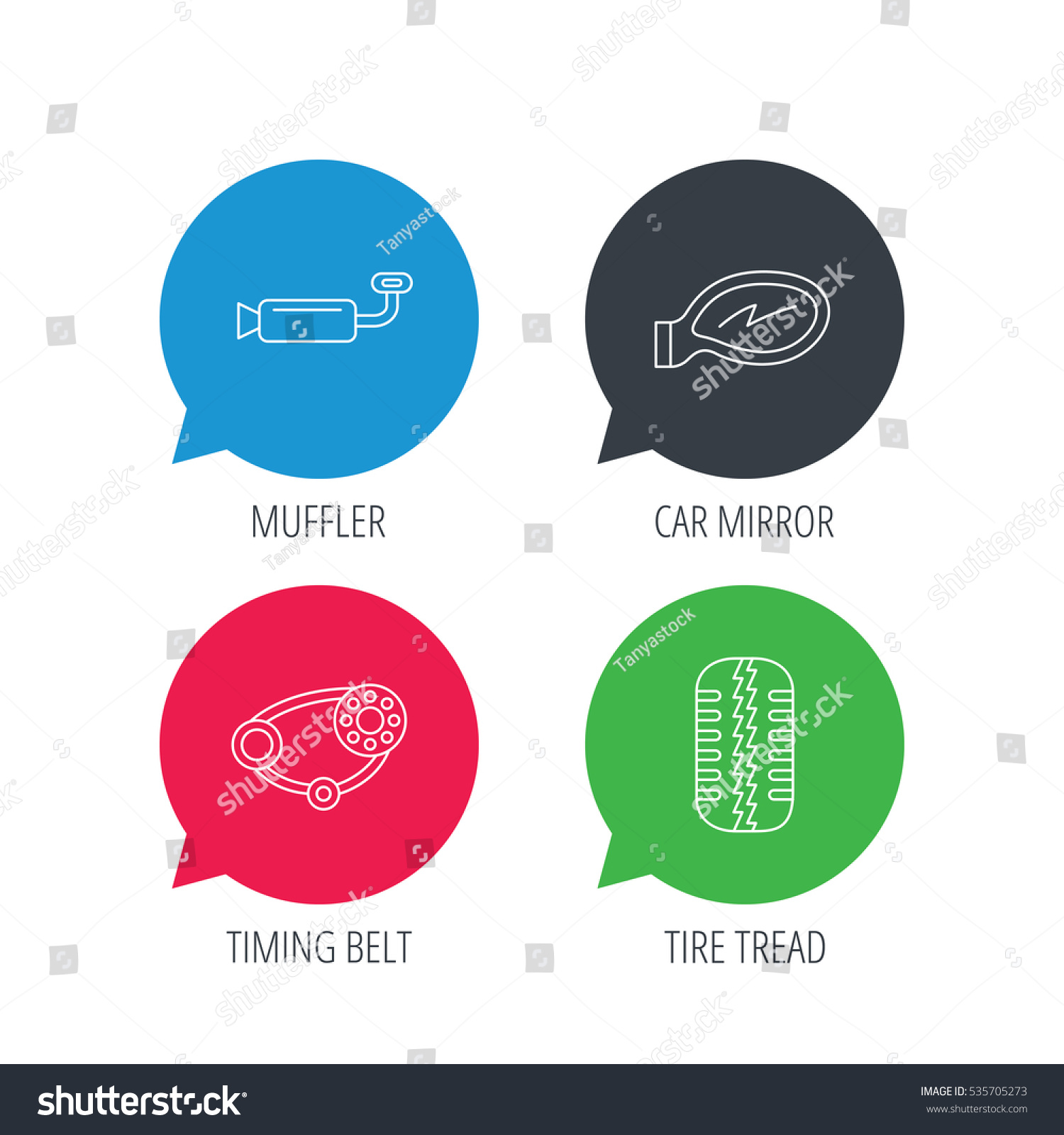 Colored Speech Bubbles Tire Tread Car Mirror And Timing Belt Icons Muffler Linear