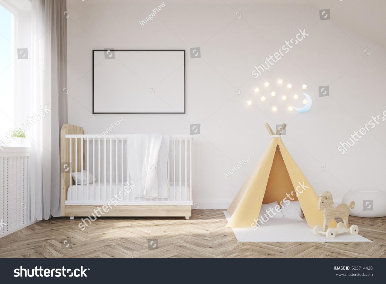 Exterior: Baby Room Interior Crib Tent Poster Stock Illustration