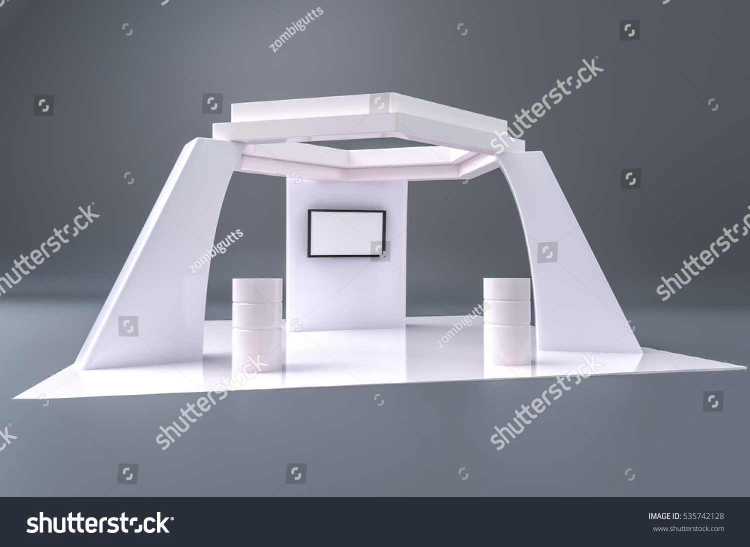 Exhibition Stand White : Exhibition stand plain white used mockups stock