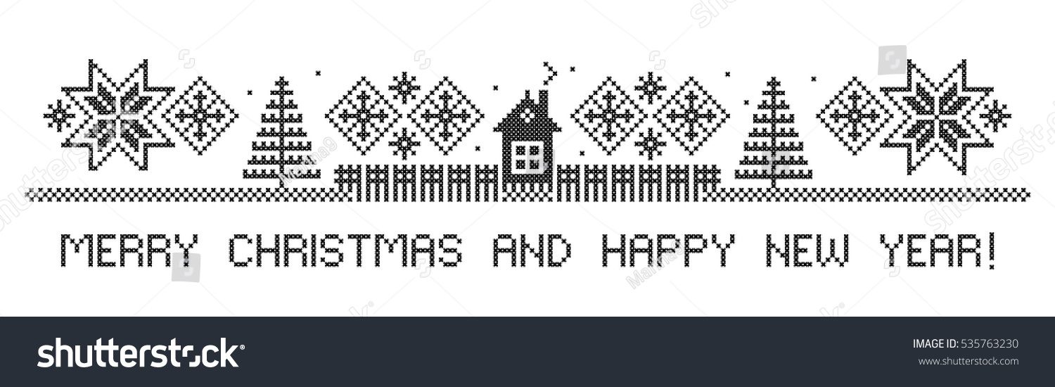 merry christmas and happy new year border winter rural landscape cross stitch