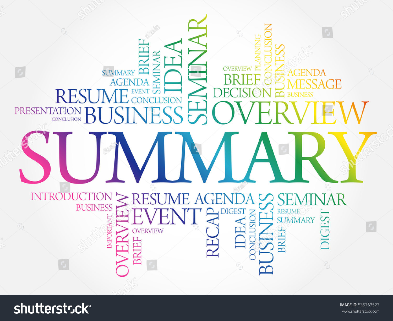 Summary Word Cloud Collage Business Concept Vector de stock (libre ...