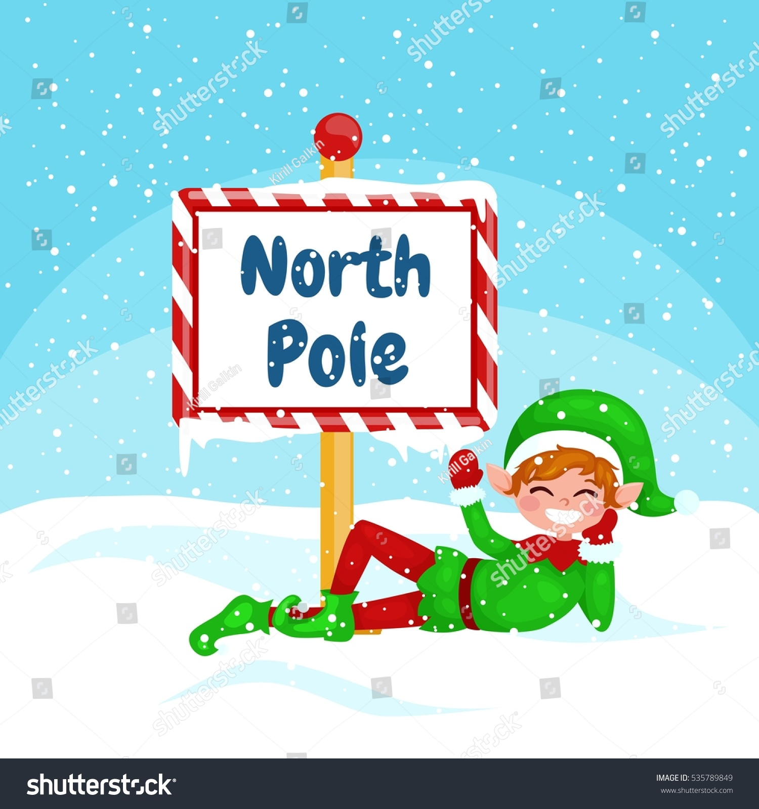 Vector christmas illustration elf north pole stock vector royalty vector christmas illustration elf with a north pole sign new year vector greeting card m4hsunfo
