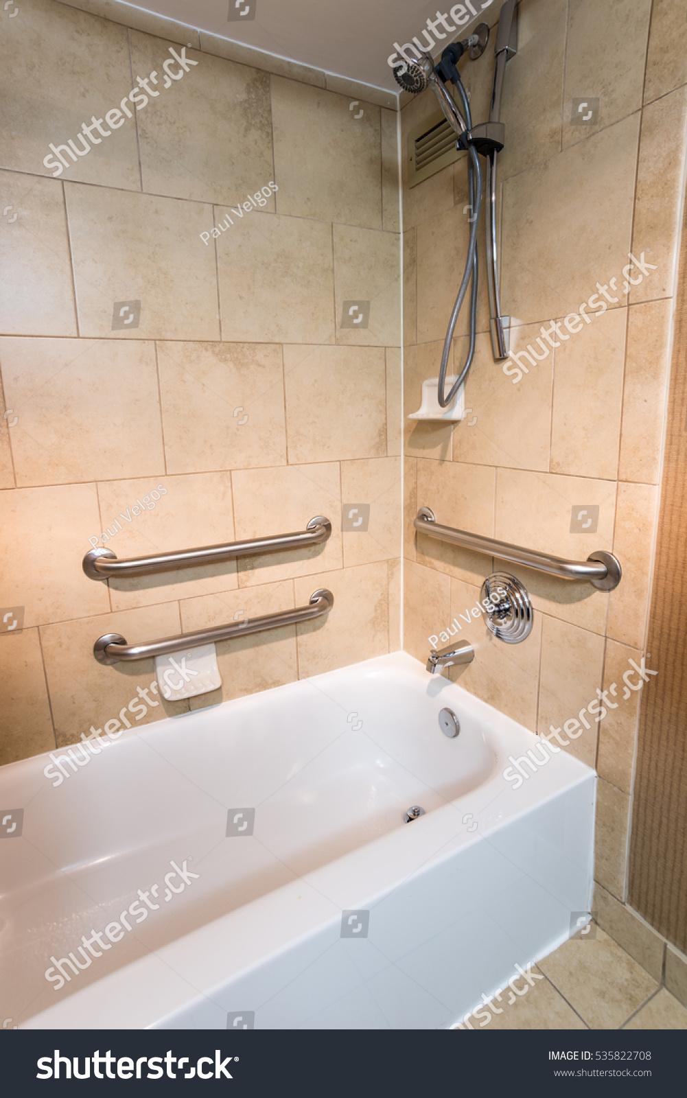 Disability Access Bathtub Shower Hotel Room Stock Photo (Edit Now ...