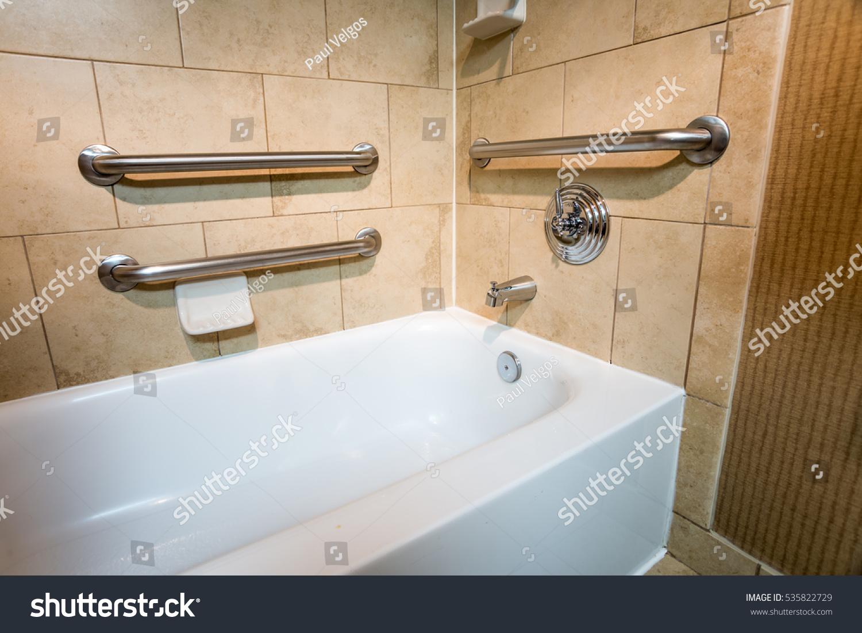 Handicapped Access Bathtub Hotel Room Grab Stock Photo (Royalty Free ...