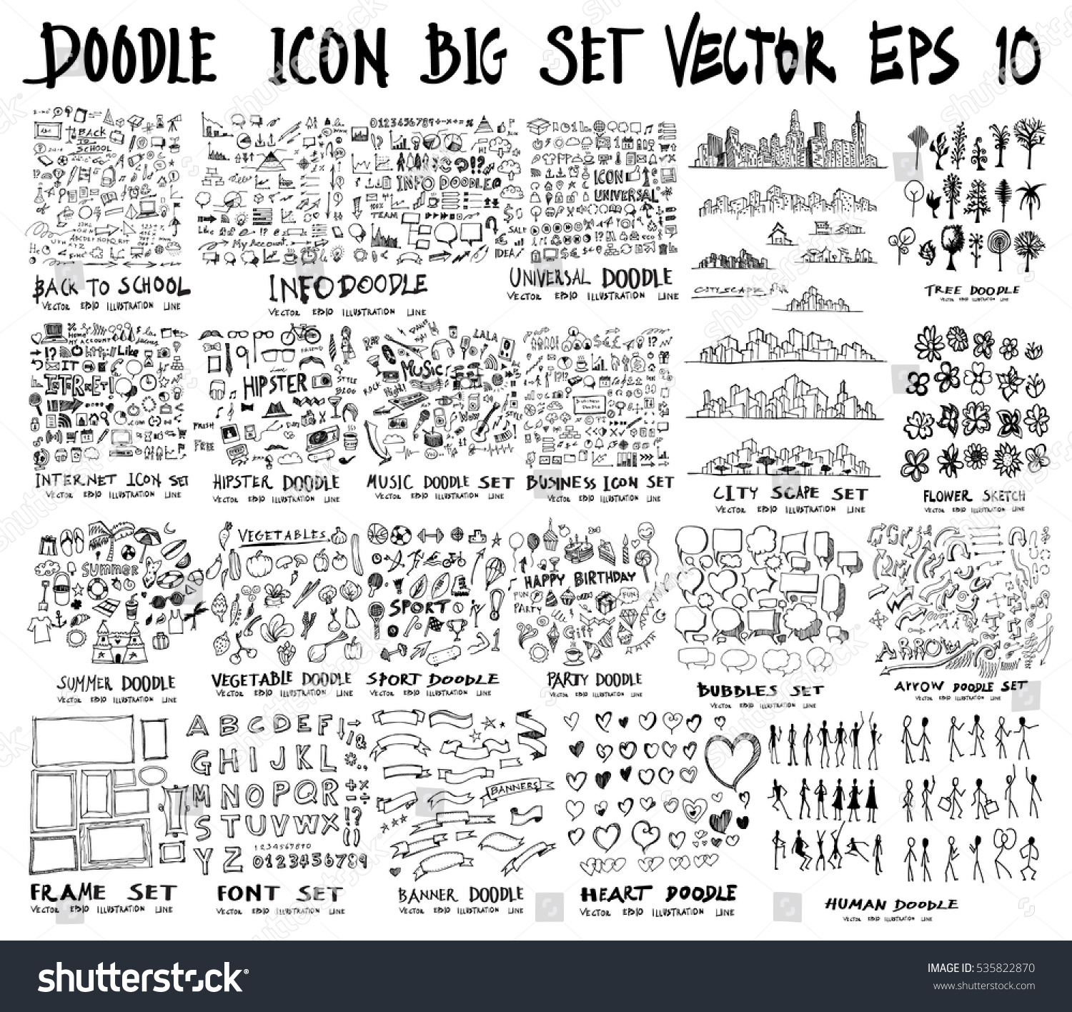 MEGA set of doodles of Back to school, Arrow ,Business, Social shopping elements, tree, Info, Internet, Universal, Party, Human, Creative, City scape, Sport, summer, Frame, Font, Banner, Heart,Music #535822870