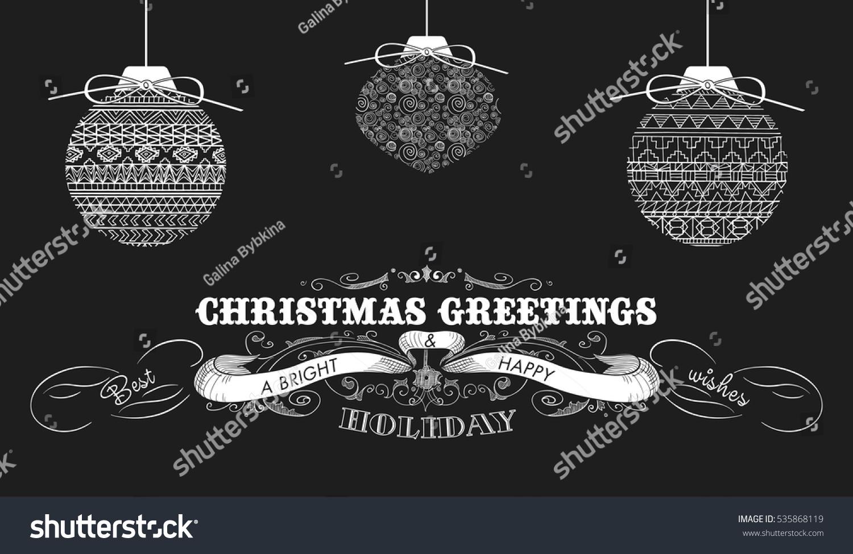 Christmas Greetings Text Design Balls On Stock Vector Royalty Free