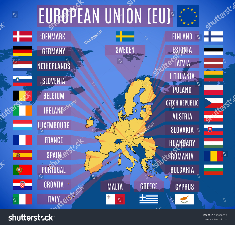vector map european union eu without stock vector 535888576 shutterstock. Black Bedroom Furniture Sets. Home Design Ideas