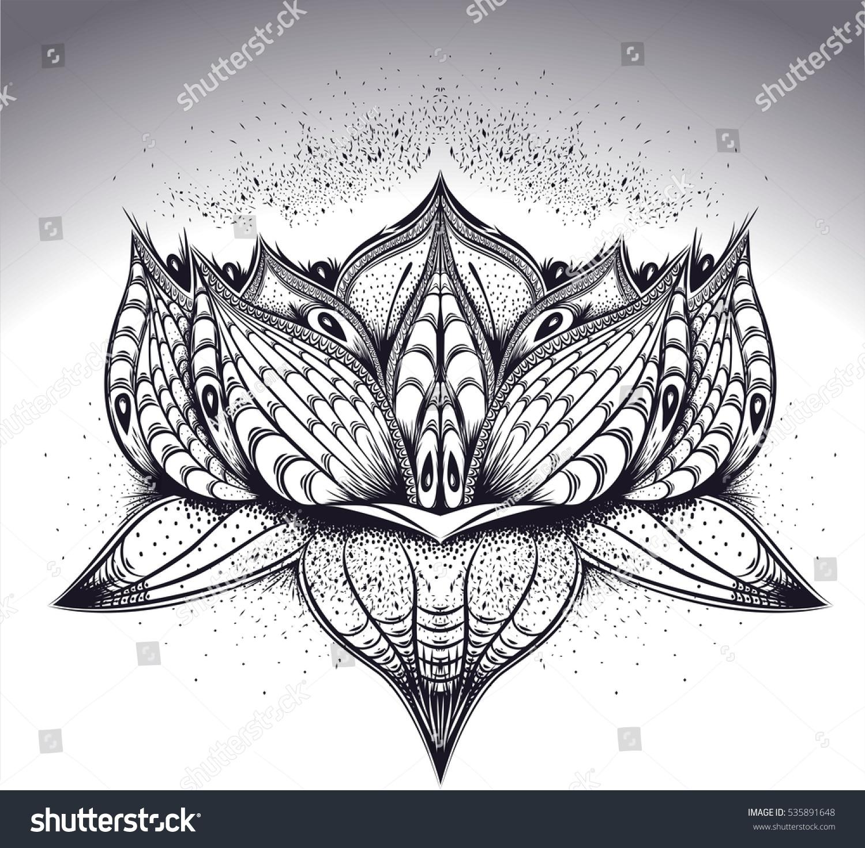 Sketch Tattoo Art Lotus Flower Blossom Stock Vector Royalty Free