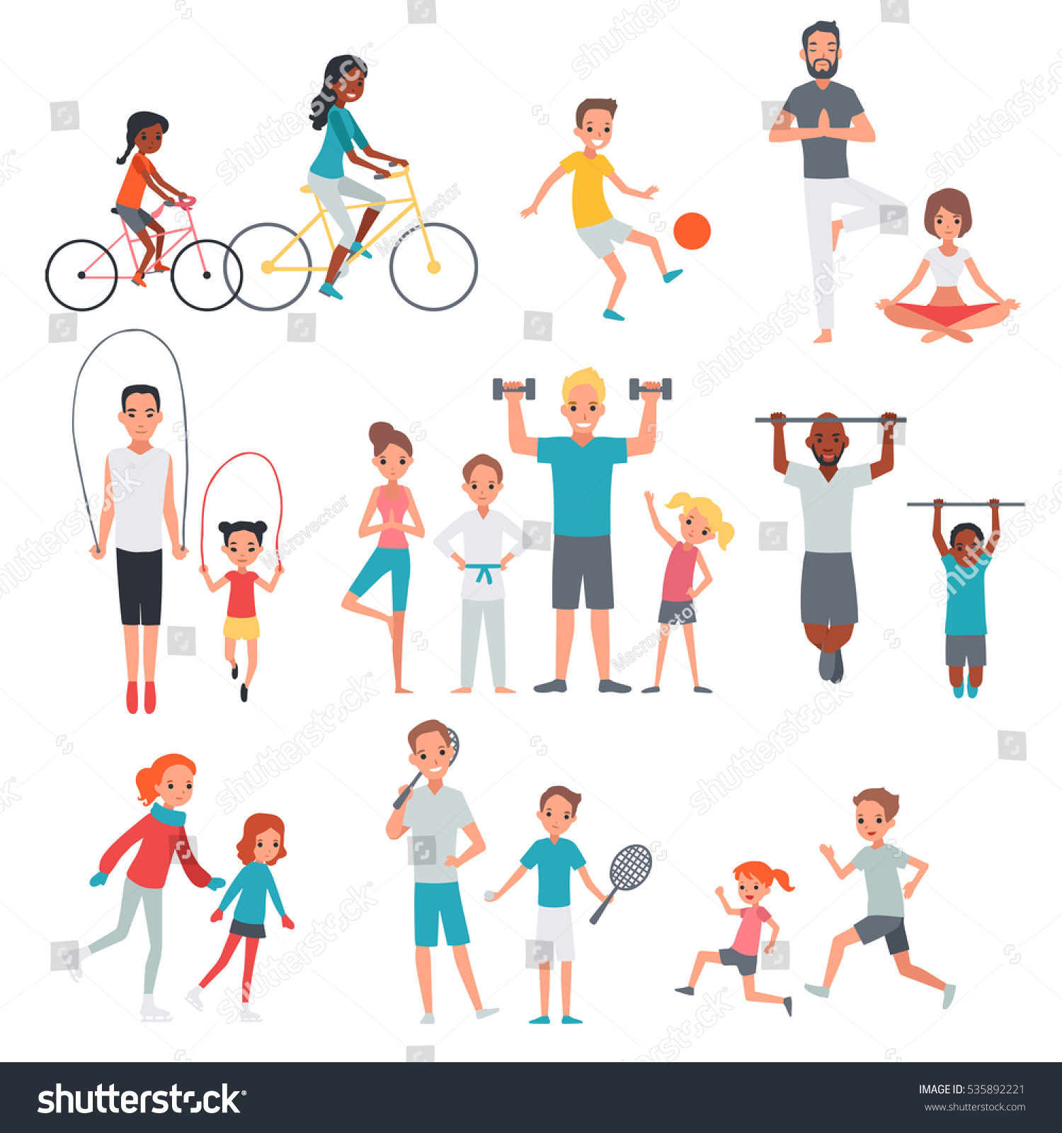 People flat fitness set with parents and children involving in sport