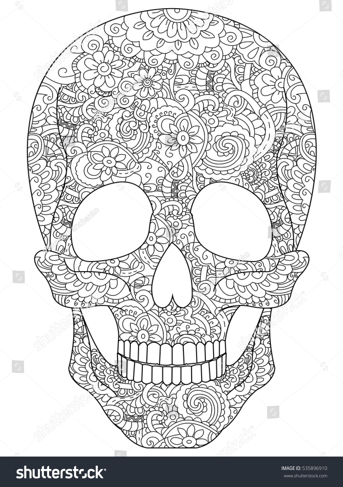 skull coloring book for adults raster illustration anti stress coloring for adult zentangle - Skull Coloring Book