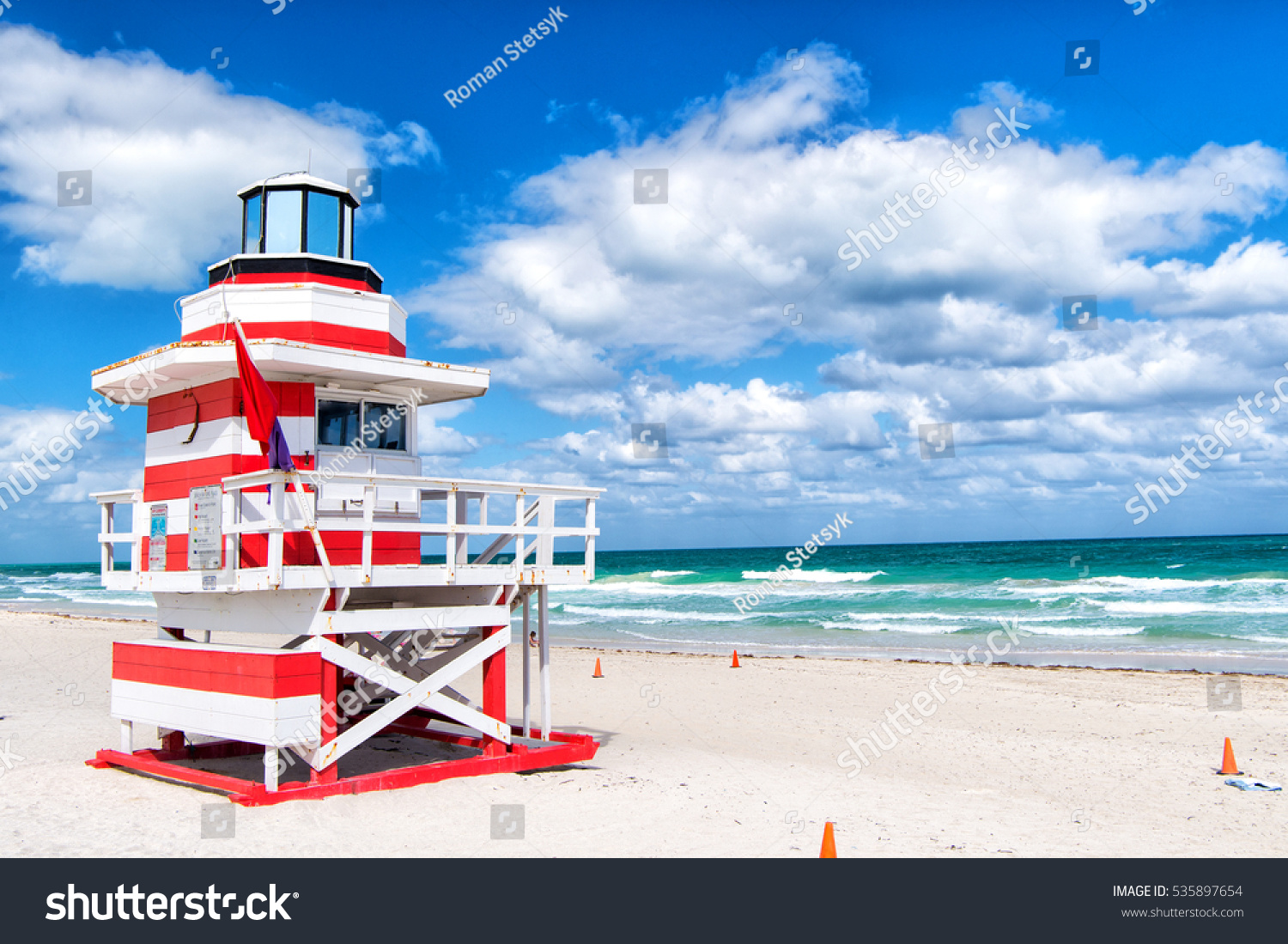 south beach miami florida lifeguard house stock photo 535897654