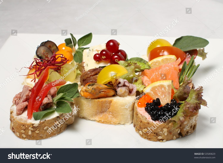 Sea fruit canape with caviar stock photo 53589829 for Canape with caviar