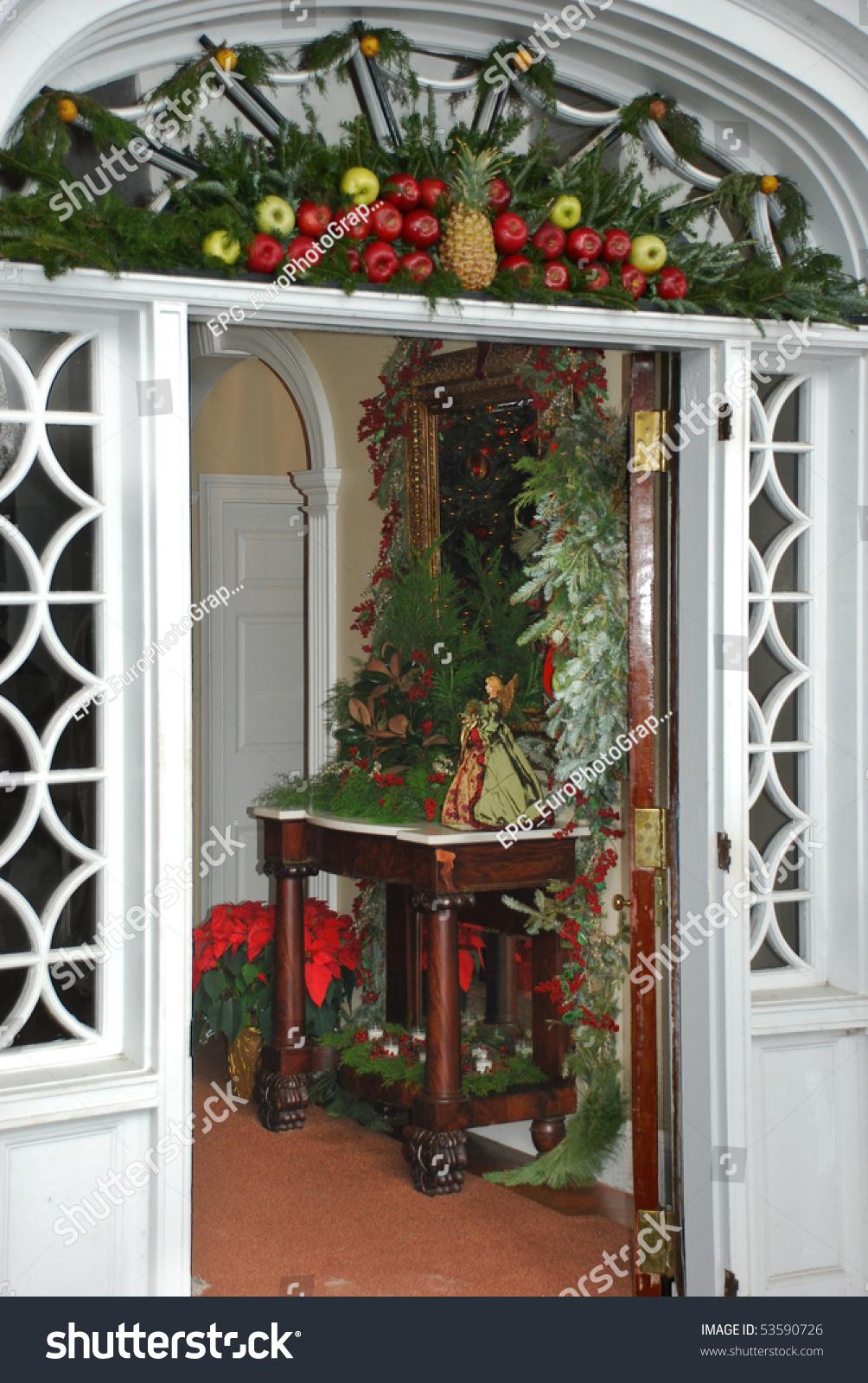 Stylish Christmas Decorated South Carolinian House Stock