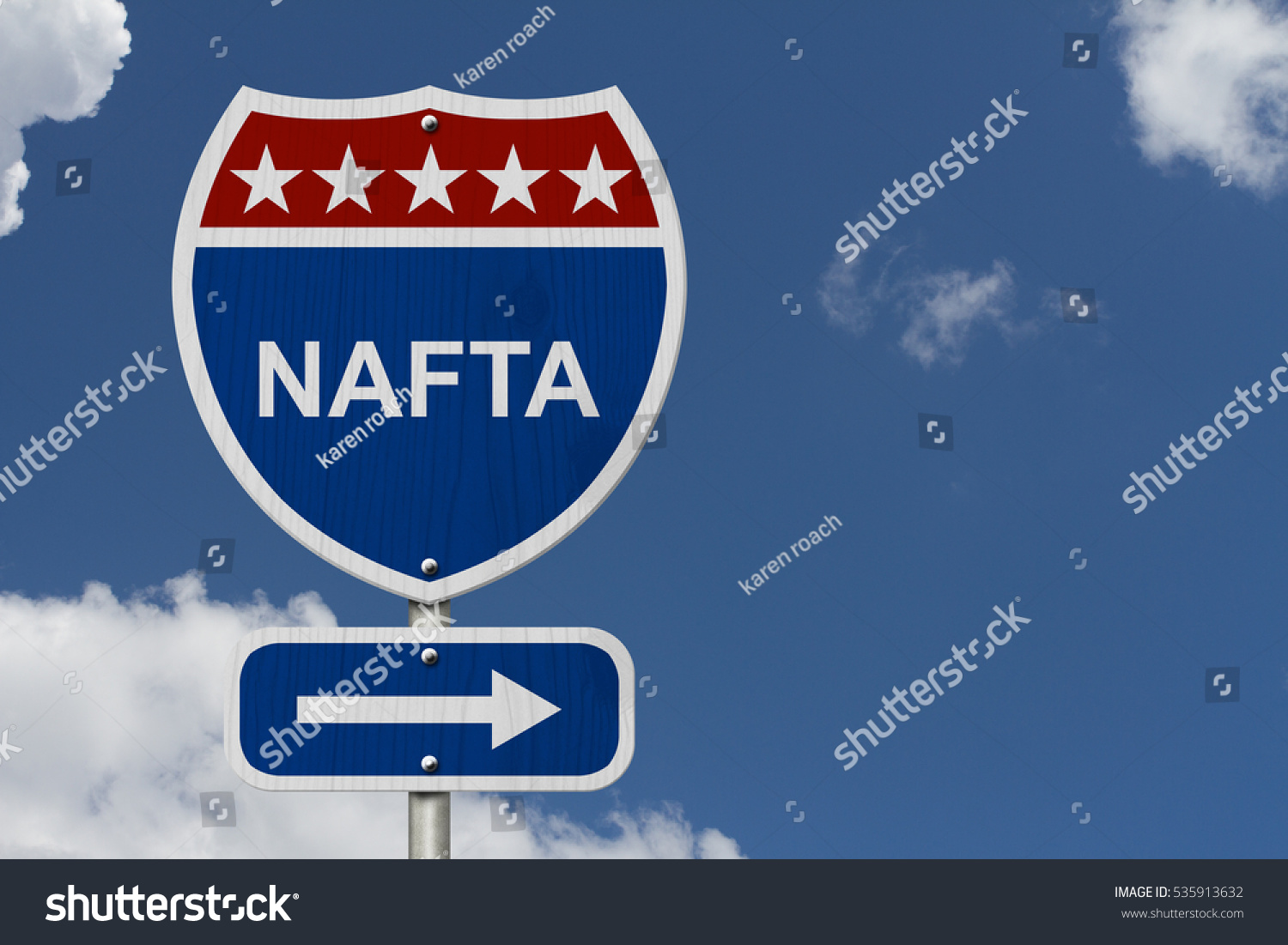 North american free trade agreement sign stock illustration north american free trade agreement sign red white and blue interstate highway road sign sciox Images