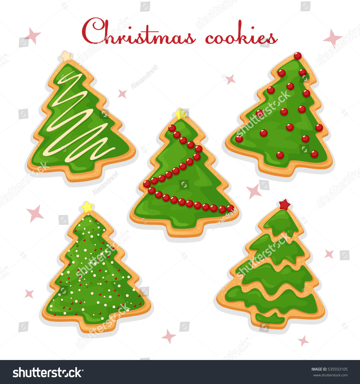 Drawing Colorful Christmas Cookies Isolated Whitegingerbread Stock ...