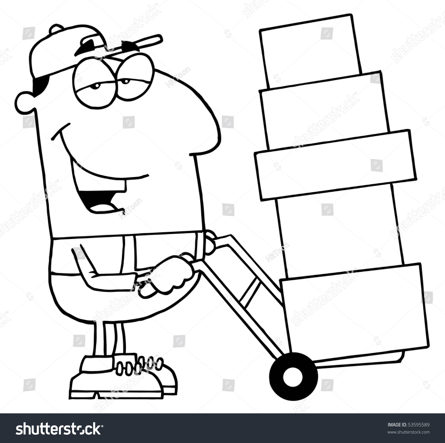 Clipart Illustration Outlined Delivery Guy Stock Vector 53595589 ...
