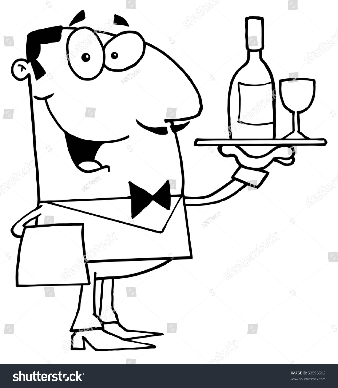 Clipart Illustration Of An Outlined Butler Serving Wine ... Butler Servant Clipart