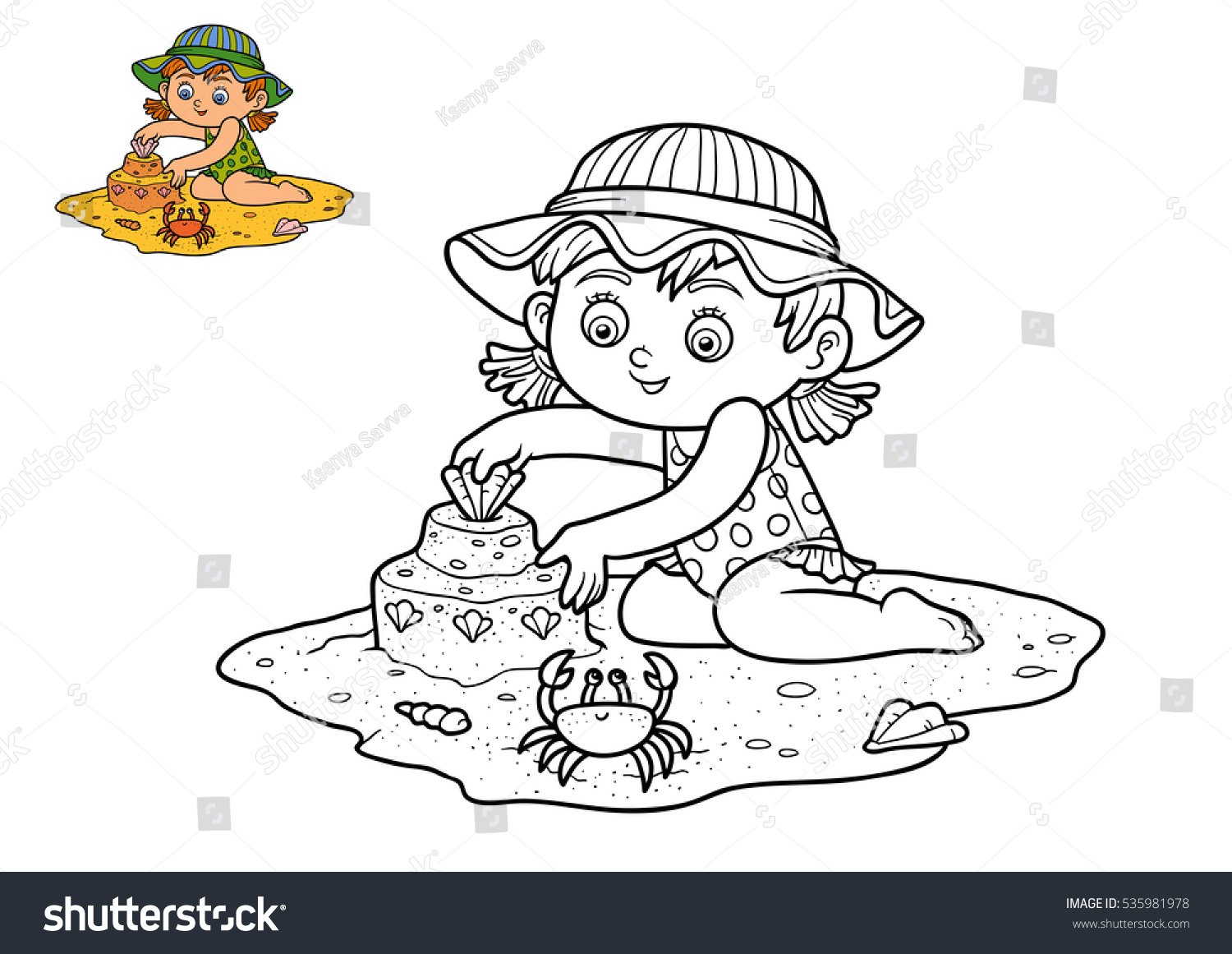 Coloring Book Children Girl On Beach Stock Illustration 535981978 ...