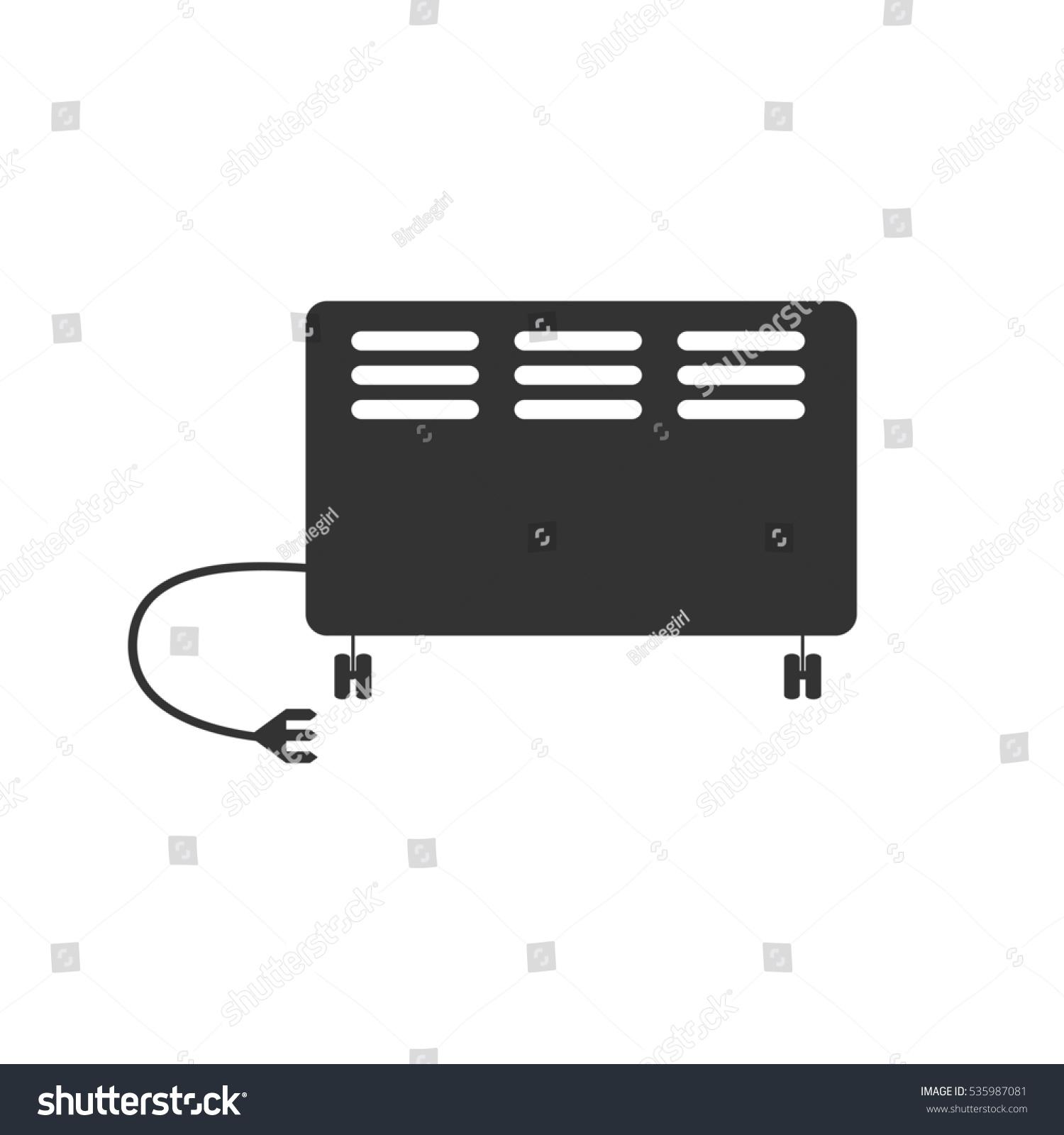 Electric Heater Icon Flat Grey Symbol Stock Illustration 535987081 ...