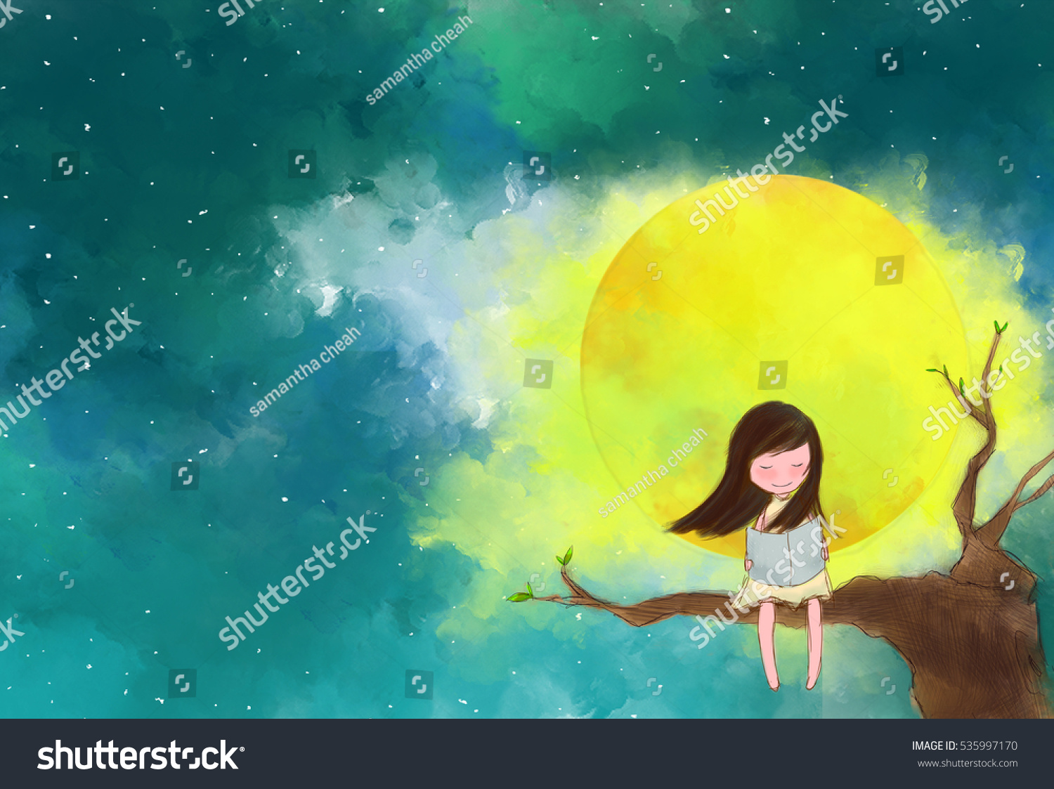 illustration water color drawing of lonely girl sitting on tree branches reading book over full moon - Color Drawing Pictures