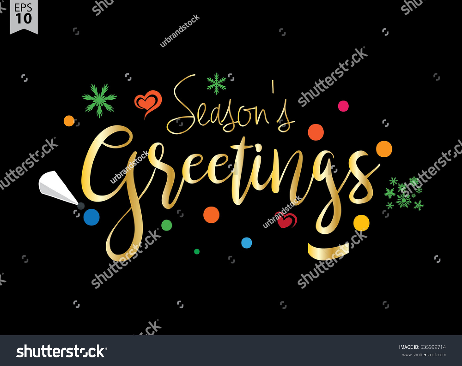 Seasons Greetings Creative Calligraphy Lettering Can Stock Vector