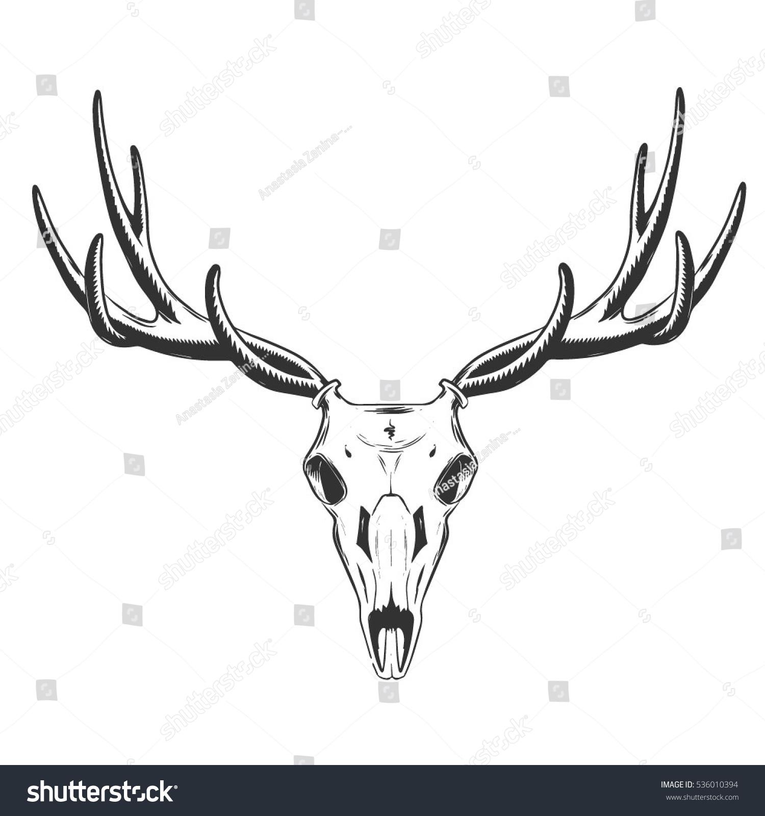 vector illustration skull deer tattoo design stock vector 536010394 shutterstock. Black Bedroom Furniture Sets. Home Design Ideas
