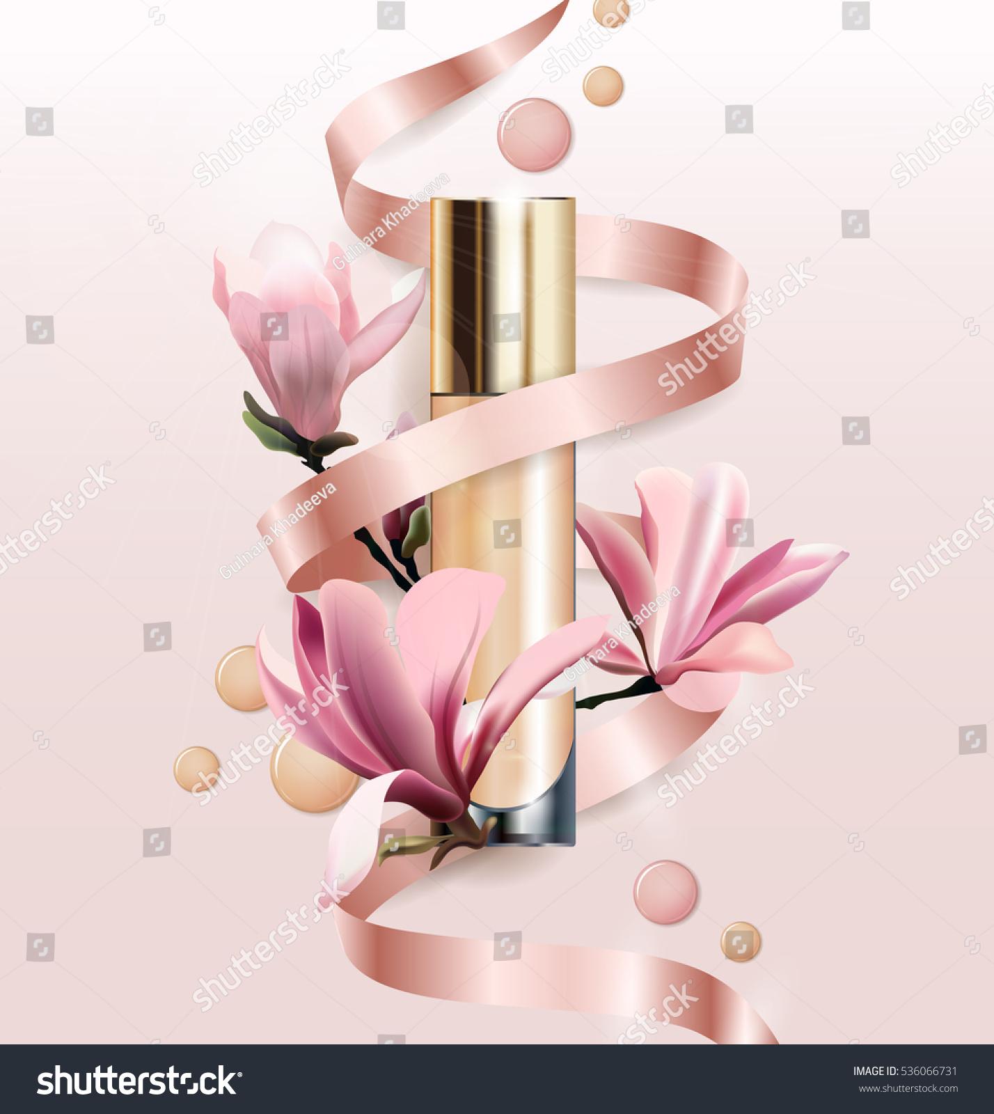 Cosmetic product foundation concealer cream flowers stock vector cosmetic product foundation concealer cream with flowers beautiful bottle with flowers magnolia izmirmasajfo