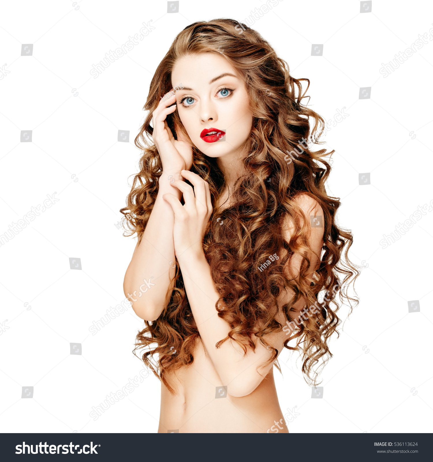 Beautiful Woman Curly Long Hair Closeup Stock Photo (Royalty Free ...