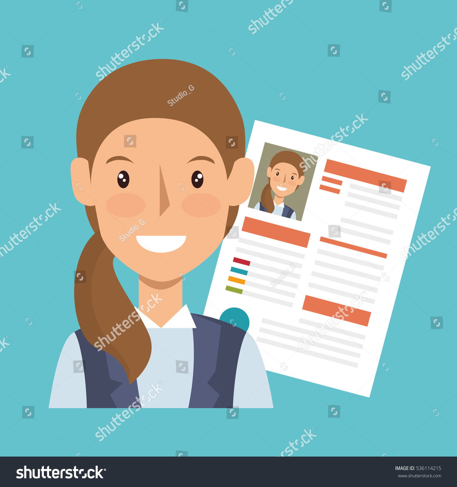 businesswoman character avatar cv icon image vectorielle 536114215