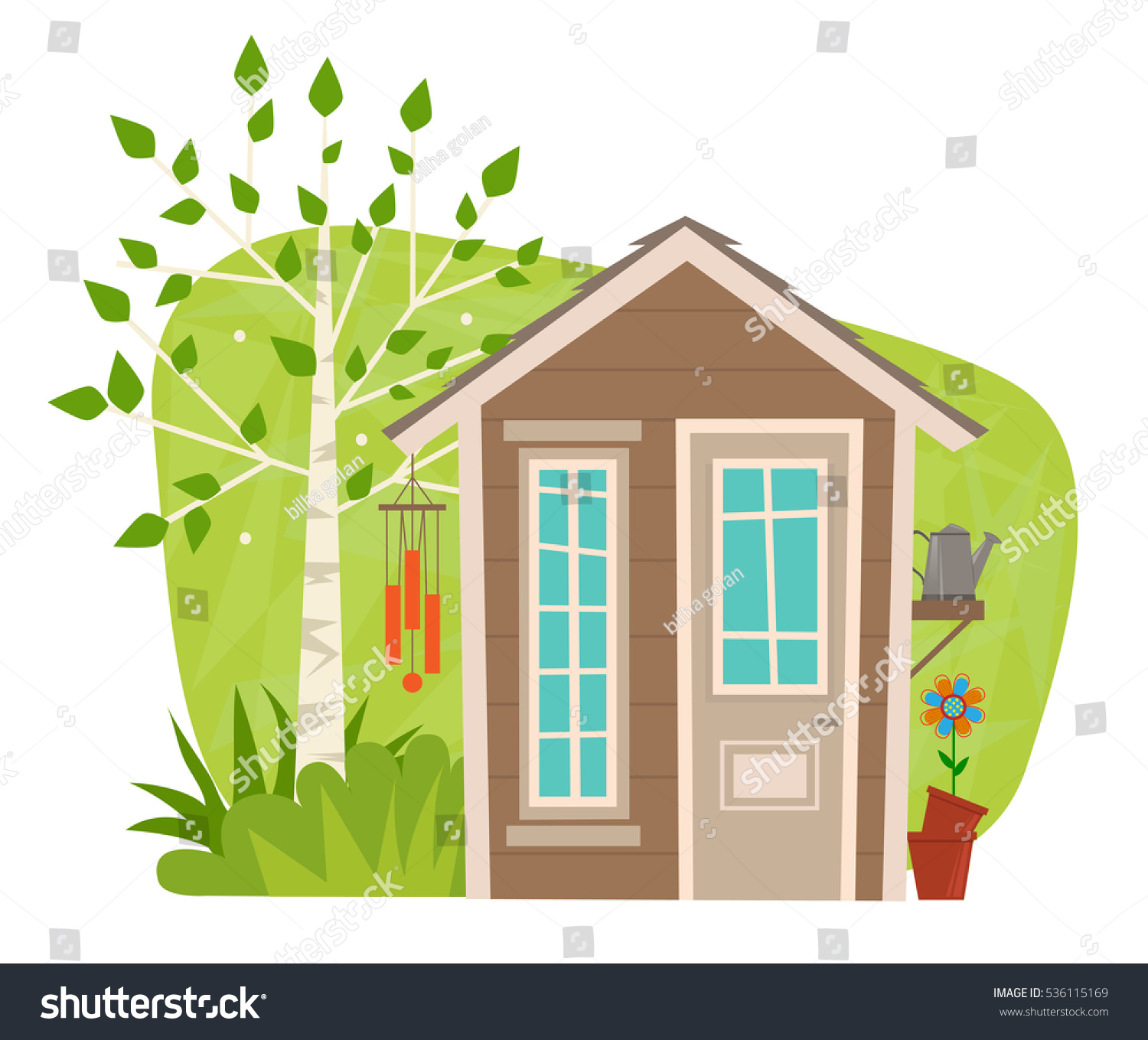 Cute Garden Shed   Clip Art Of A Small Garden Shed With Tree, Wind