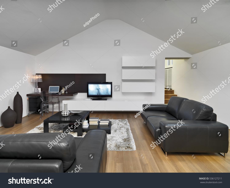 Internal shots modern living room mansard stock photo for Mansard room