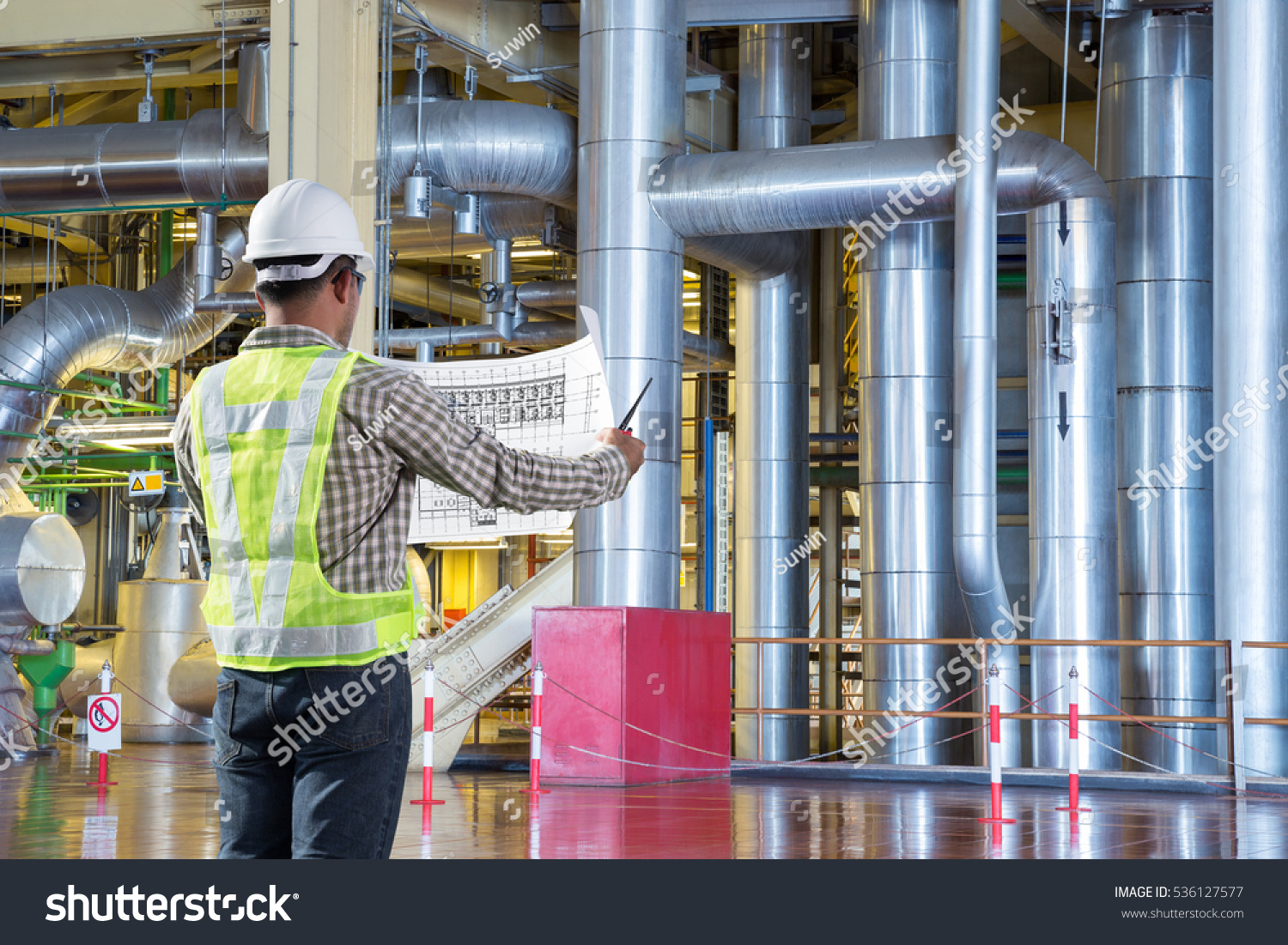 Electrical Engineer Reading Drawing Diagram Maintenance Stock Photo Of Power Plant For At Thermal Factory