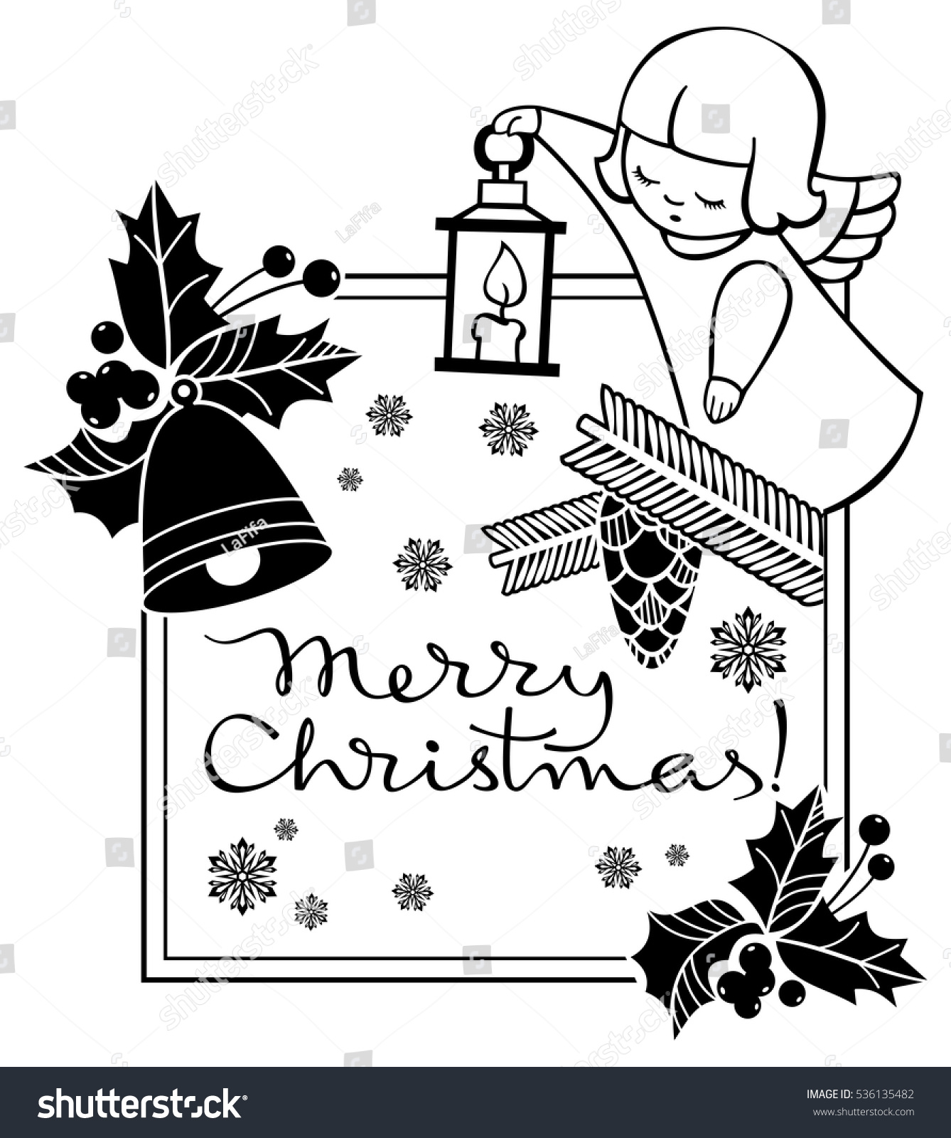 black and white christmas label with angels and artistic written text merry christmas - When Was White Christmas Written