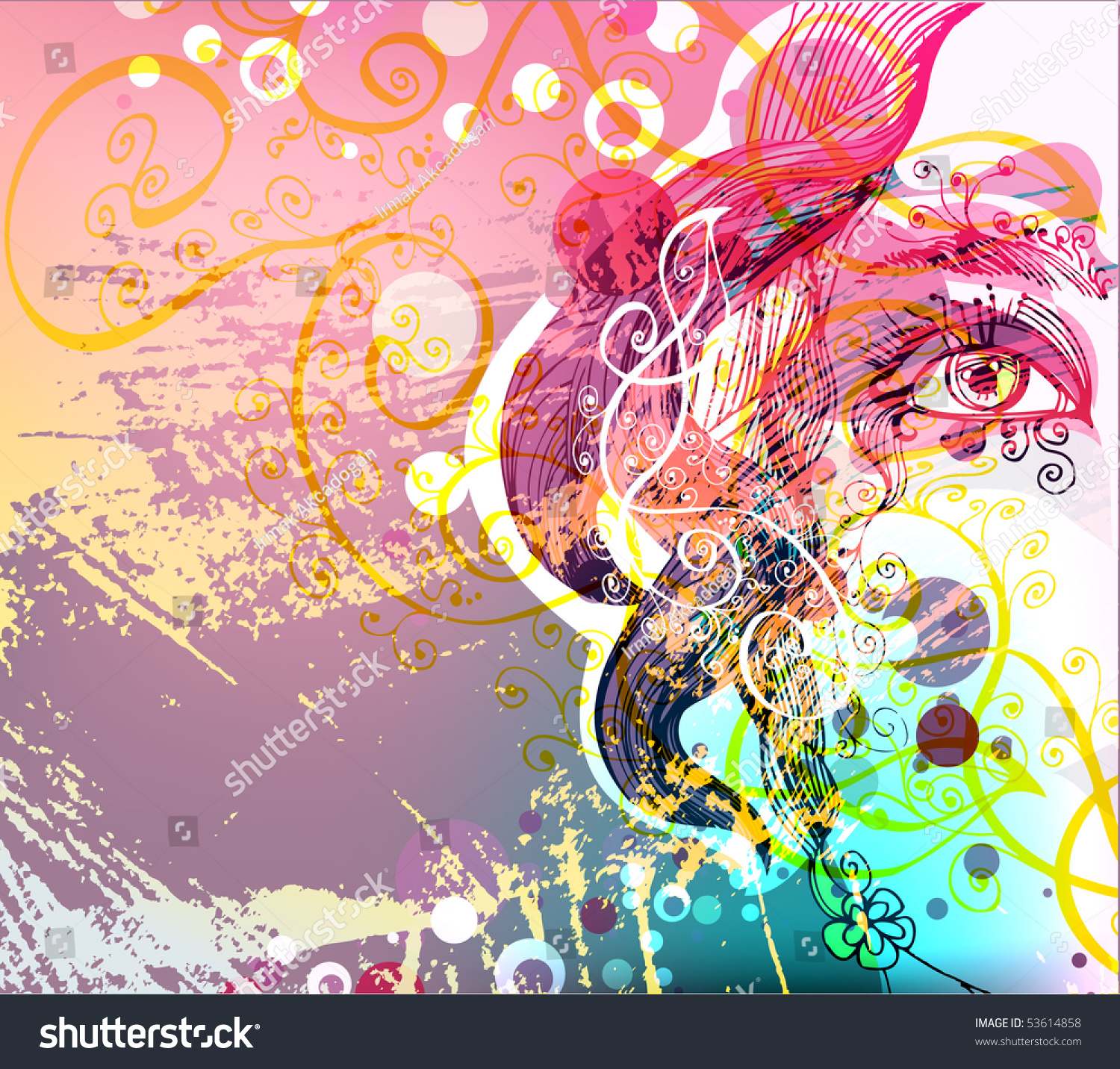 Uncategorized Girlspace abstract floral girl space text stock vector 53614858 shutterstock for text