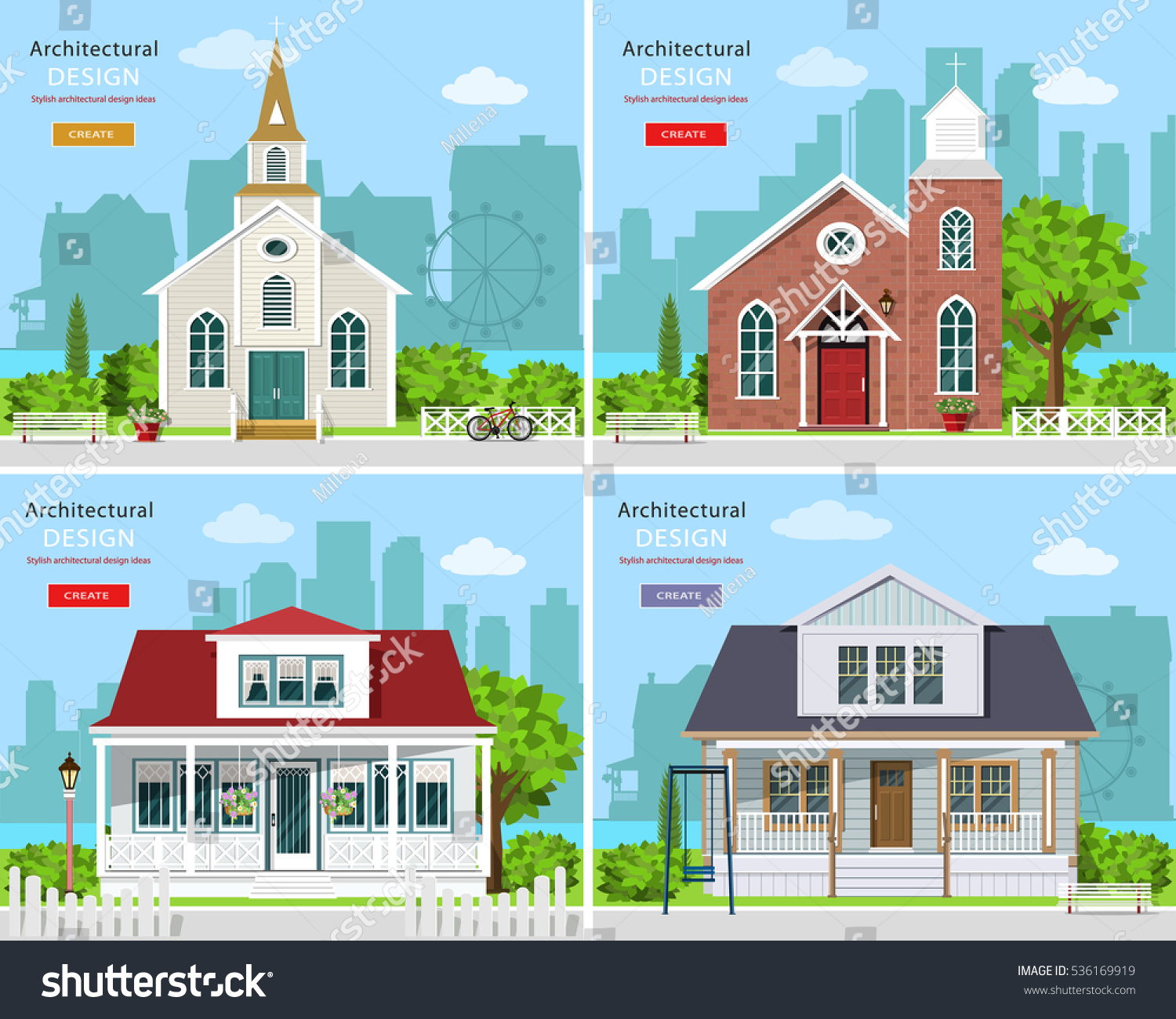 Wonderful Set With Modern Church Buildings And Private Houses. Cute Houses With City  Background. Flat