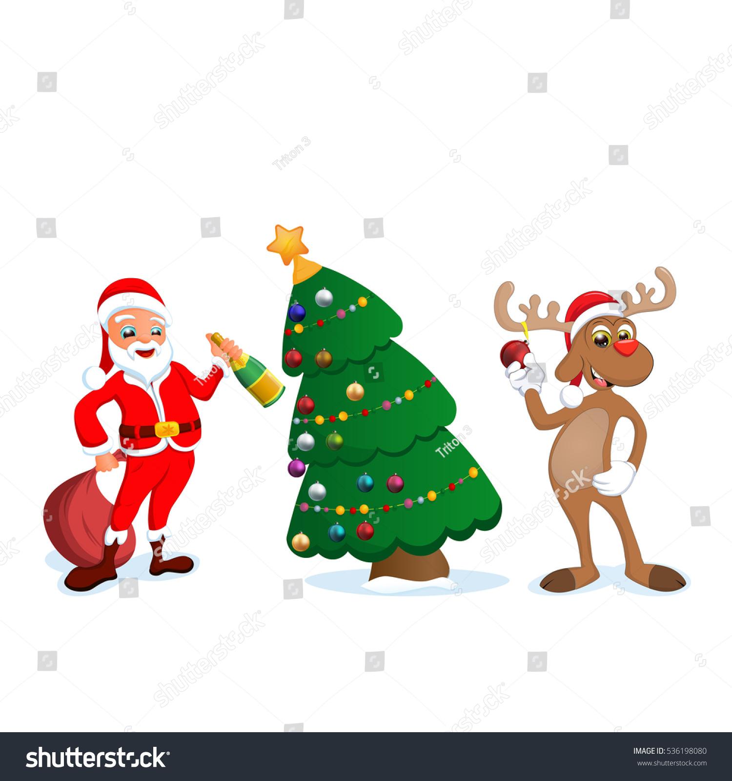 funny happy cartoon christmas reindeer santa stock vector
