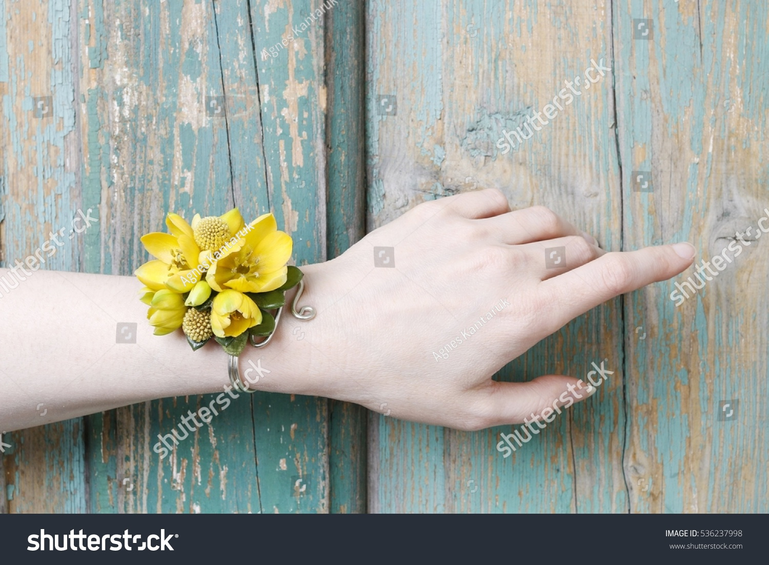Wrist Corsage Made Yellow Flowers Stock Photo Edit Now 536237998