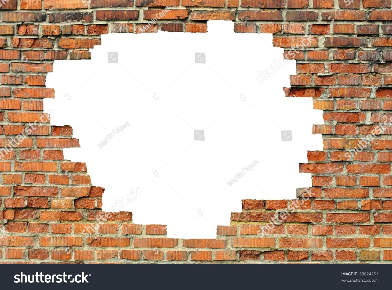 Old Brick Wall White Hole Stock Illustration 53624251
